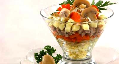 Cucina Russa: Cocktail di Salmone e funghi